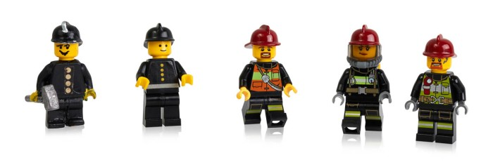 Early prototypes, first and more recent minifigure firefighters-3
